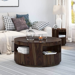 Ladonia Rustic Solid Wood Round Coffee Table With Shelves