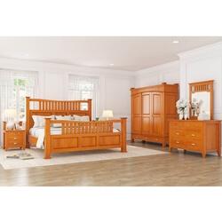 Longport Traditional Style Mahogany Wood 6 Piece Bedroom Set