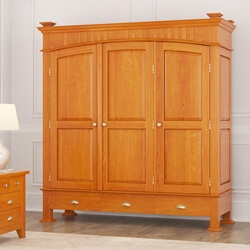 Longport Asian Style Mahogany Wood Large Armoire Wardrobe With Drawers
