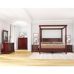 Cayuta Solid Mahogany Wood 6 Piece Bedroom Set