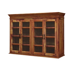 Oklahoma Rustic Solid Wood Glass Door Top Hutch Cabinet