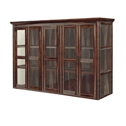 Dallas Ranch Rustic Solid Wood Glass Door Top Hutch