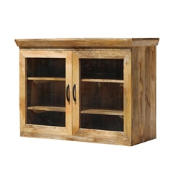 Aflon Rustic Mango Wood Glass Door Top Hutch Cabinet