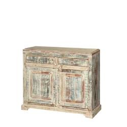Geyserville White Washed Reclaimed Wood 2 Drawer Rustic Buffet Cabinet