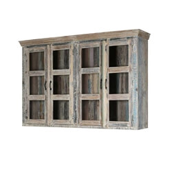 Cavea Country Winter White Reclaimed Wood Top Hutch