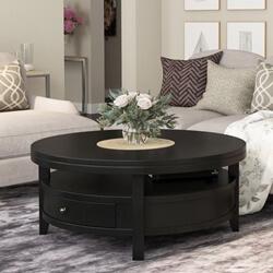 Toledo Solid Wood Black Modern Round Coffee Table
