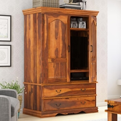 Shelburne Rustic Solid Wood Large TV Armoire Cabinet With Drawers