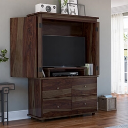 Blawenburg Rustic Solid Wood Large TV Armoire With Drawers