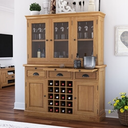 Branson Teak Wood Dining Bar Hutch