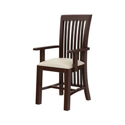 Tannersville Solid Mahogany Wood Upholstered Dining Chair w Arms