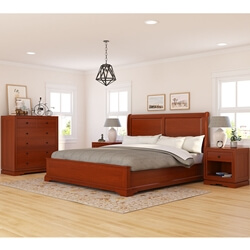 Duanesburg Mahogany Wood 4 Piece Bedroom Set