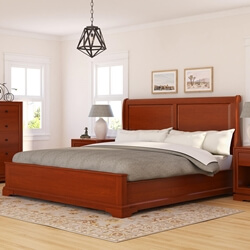Duanesburg Solid Mahogany Wooden Sleigh Style Platform Bed