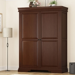 Accoville Mahogany Wood Large Wardrobe Armoire With Shelves