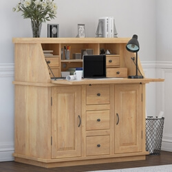 Mapalia Rustic Solid Wood Drop Front Secretary Desk