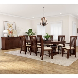 Tannersville Solid Mahogany Wood 10 Piece Dining Room Set