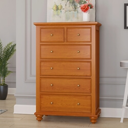 Wamsutter Solid Mahogany Wood 6 Drawer Tall Dresser