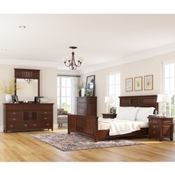 Bardugo Traditional Mahogany Wood 6 Piece Bedroom Set