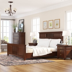 Bardugo Traditional Solid Mahogany Wood Platform Bed