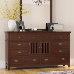 Bardugo Traditional Solid Mahogany Wood 9 Drawer Dresser