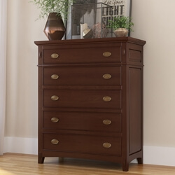 Bardugo Solid Mahogany Wood Large Tall Bedroom Dresser With 5 Drawers