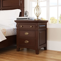 Bardugo Traditional Solid Mahogany Wood 3 Drawer Nightstand