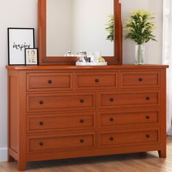 Kristoff Solid Mahogany Wood 9 Drawer Standard Dresser