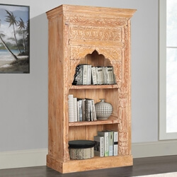Alluwe Rustic Reclaimed Wood 3 Open Shelf Hand Carved Arch Bookcase