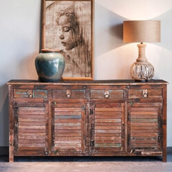 Loretto Reclaimed Wood Shutter Door 4 Drawer Large Sideboard Cabinet