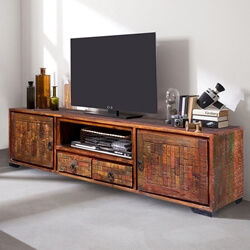 Virgie Rustic Reclaimed Wood 2 Drawer TV Stand Media Cabinet