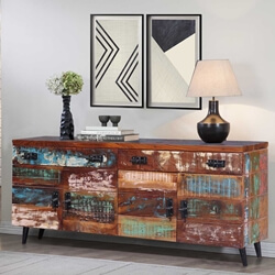 Mathiston Multi Color Reclaimed Wood 2 Drawer Large Sideboard Cabinet
