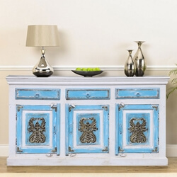 Silas Two Tone Reclaimed Wood 3 Drawer Large Sideboard Cabinet
