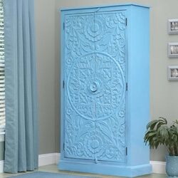 Mandala Hand Carved Reclaimed Wood Blue Storage Cabinet