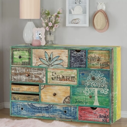 Clarksville Multi-Color Hand Painted Reclaimed Wood 13 Drawer Dresser