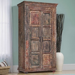 Belspring Antique Reclaimed Wood Rustic Furniture Tall Storage Cabinet