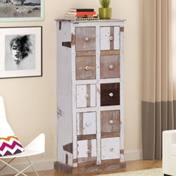 Osino Distressed White Reclaimed Wood 10 Drawer Tall Tower Dresser