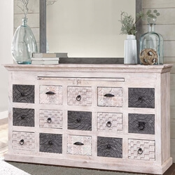 Wellsburg Reclaimed Wood Dual Tone 15 Drawer Dresser