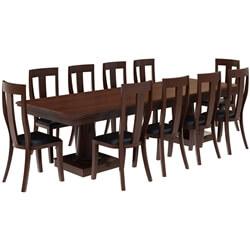 Cazenovia Solid Mahogany Wood Dining Table with 10 Chairs Set