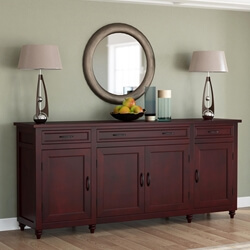 Arenzville Solid Mahogany Wood 3 Drawer Large Sideboard Cabinet