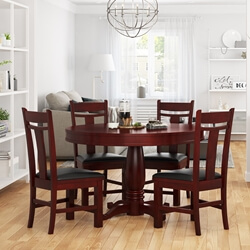 Garcia Mahogany Wood Round Dining Table Chair Set