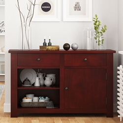 Garcia Solid Mahogany Wood 2 Drawer Kitchen Sideboard Cabinet