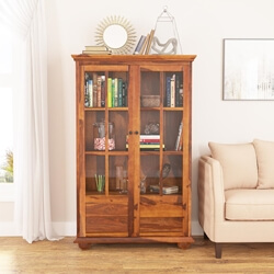 Askov 4 Shelf Wide Bookcase with Glass Door