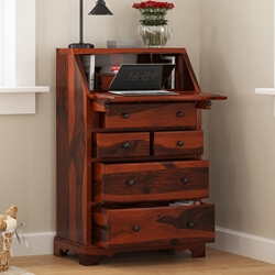 Honomu Rustic Solid Wood 4 Drawer Drop Front Home Office Secretary Desk
