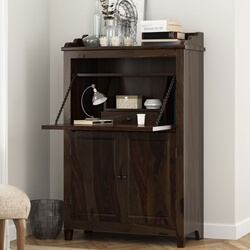 Elnora Rustic Solid Wood Drop Front Home Office Secretary Desk