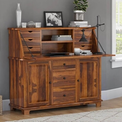 Weldona Rustic Solid Wood Drop Front Home Office Secretary Desk