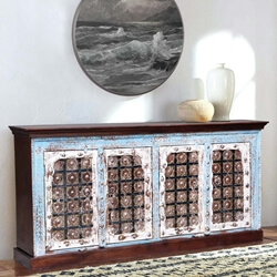 Trafford Distressed Reclaimed Wood Two Tone Large Buffet Cabinet