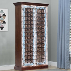 Trafford Distressed Reclaimed Wood Brass Accent Two Tone Armoire