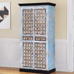 Trafford Distressed Reclaimed Wood Brass Accent Two Drawer Armoire