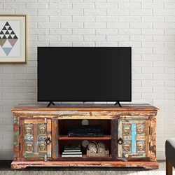 Winifred Reclaimed Wood Buddha Brass Inlay Media TV Stand Cabinet