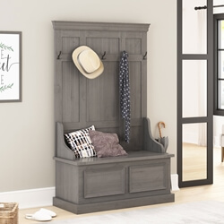 Redvale Solid Mahogany Wood Grey Hall Tree Bench with Storage
