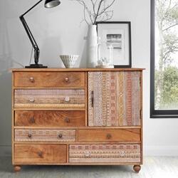 Hamlin Artistic Asymmetrical Reclaimed Wood 6 Drawer Rustic Dresser